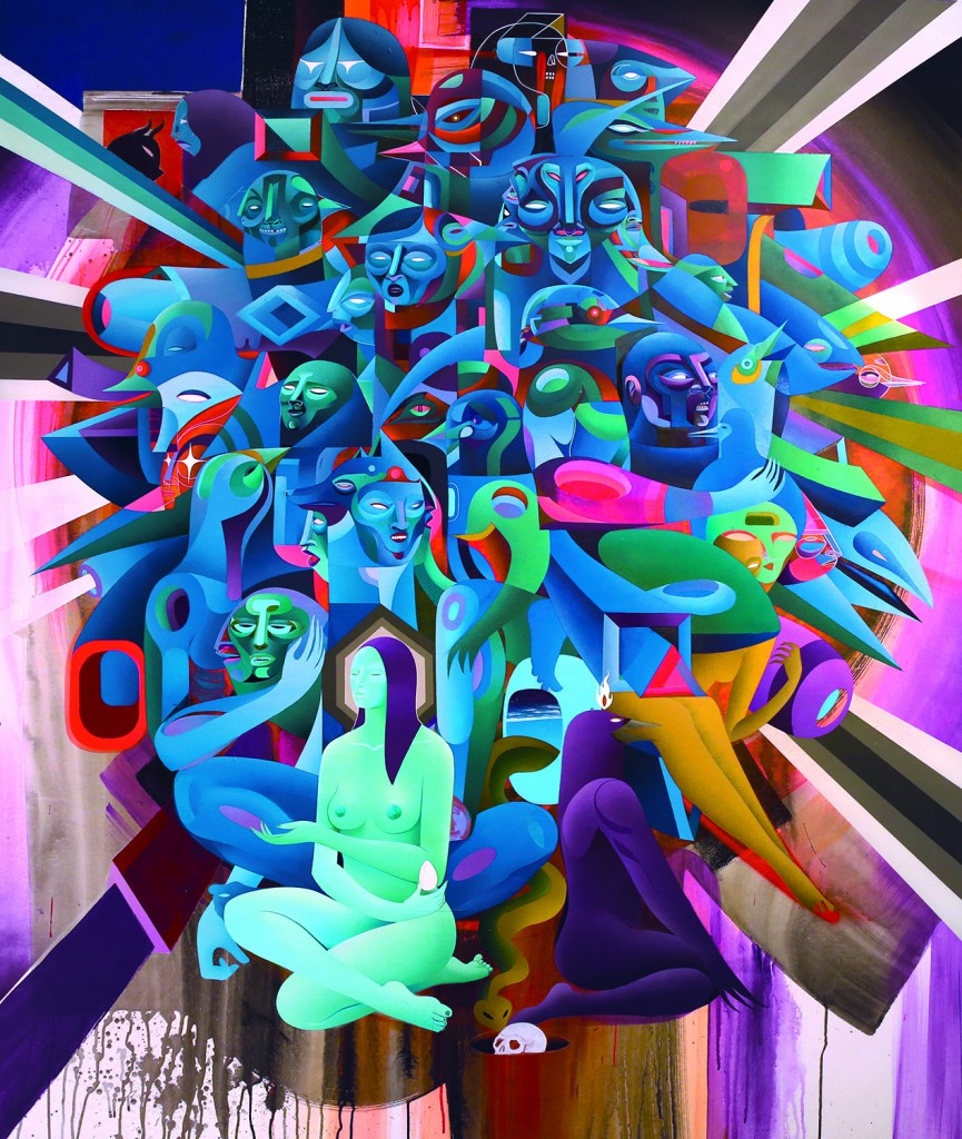 Doze  Green -  <strong>Maya Magdalena</strong> (2014<strong style = 'color:#635a27'></strong>)<bR /> mixed media on canvas,   70 x 60 inches  (177.8 x 152.4 cm)