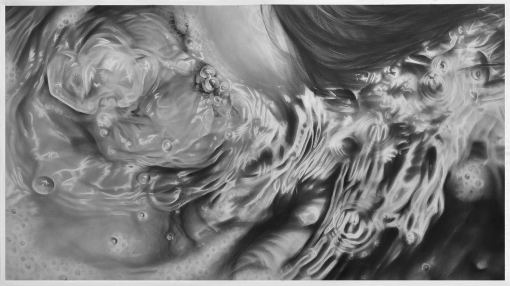Melissa  Cooke -  <strong>Undertow: Bubble</strong> (2014<strong style = 'color:#635a27'></strong>)<bR /> graphite on paper,   50 x 90 inches  (127 x 228.60 cm)