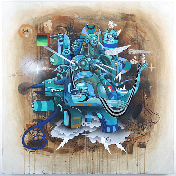 Doze  Green -  <strong>FF Operative Series A (A2)</strong> (2010<strong style = 'color:#635a27'></strong>)<bR /> mixed media on panel,   36 x 36 in.   (91.4 x 91.4 cm)