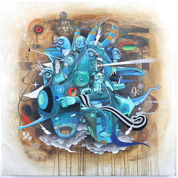 Doze  Green -  <strong>FF Operative Series A (A3)</strong> (2010<strong style = 'color:#635a27'></strong>)<bR /> mixed media on panel,   36 x 36 inches   (91.44 x 91.44 cm)