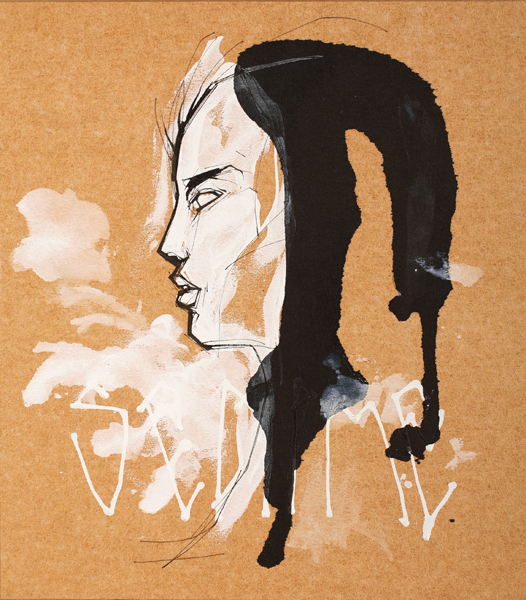 Hamilton  Yokota (Titi Freak) -  <strong>Untitled 1</strong> (2008<strong style = 'color:#635a27'></strong>)<bR /> Spray Paint and Pencil on Paper,   10 3/4 x 9 1/2 inches