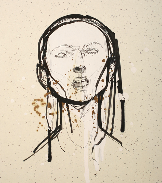 Hamilton  Yokota (Titi Freak) -  <strong>Untitled 3</strong> (2008<strong style = 'color:#635a27'></strong>)<bR /> Spray Paint and Pencil on Paper,   10 3/4 x 9 1/2 inches