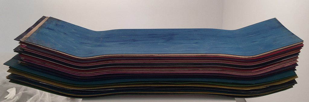 Haroshi  &nbsp -  <strong>Untitled</strong> (<strong style = 'color:#635a27'></strong>)<bR /> Used skateboards,   37 x 9.5 x 6.25 inches  (93.98 x 24.13 x 15.88 cm)