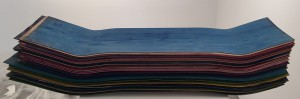 Haroshi    -  <strong>Untitled</strong> (<strong style = 'color:#635a27'></strong>)<bR /> Used skateboards,   37 x 9.5 x 6.25 inches  (93.98 x 24.13 x 15.88 cm)