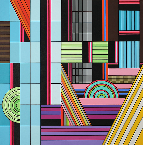 James  Marshall (Dalek) -  <strong>Untitled (no. 6)</strong> (2009<strong style = 'color:#635a27'></strong>)<bR /> acrylic on wood panel,   14 x 14 inches  35.56 x 35.56 cm