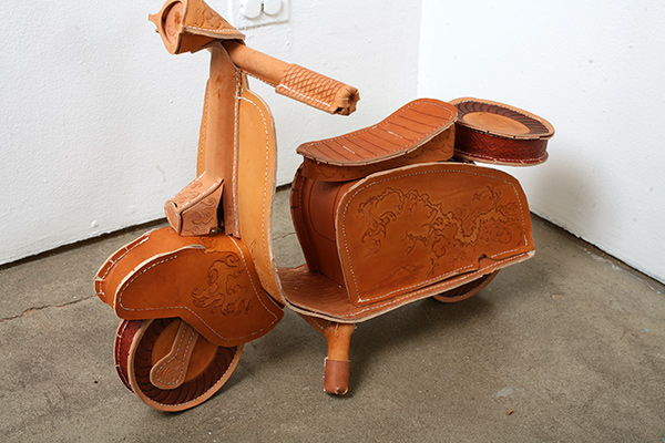 Frieda  Gossett -  <strong>Untitled</strong> (2009<strong style = 'color:#635a27'></strong>)<bR /> leather and aluminum,   21 x 28 x 17 in. (53.3 x 71.1 x 43.2 cm)