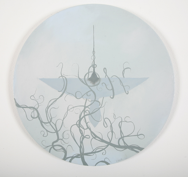 Jonathan  Viner -  <strong>V-Formation 7</strong> (2007<strong style = 'color:#635a27'></strong>)<bR /> Oil on Panel,   Image Size: 16 inches in diameter