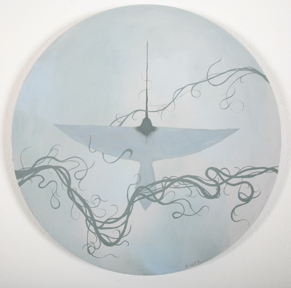 Jonathan  Viner -  <strong>V-Formation 4</strong> (2007<strong style = 'color:#635a27'></strong>)<bR /> Oil on Panel,   Image Size: 16 inches in  diameter