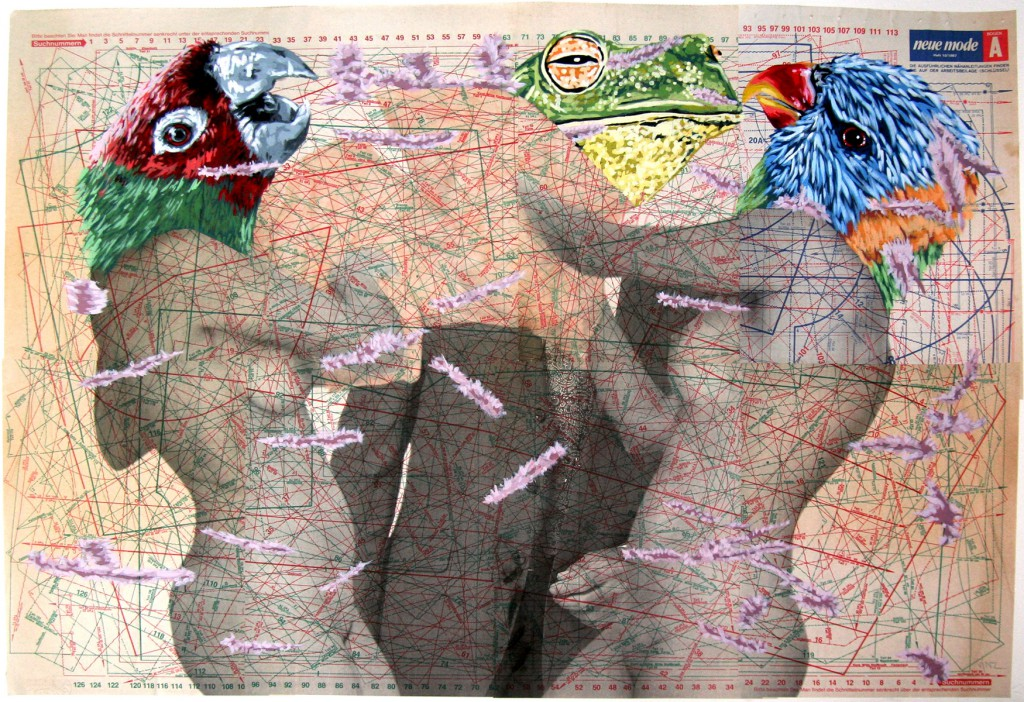 Vinz  &nbsp -  <strong>Pillow Attack</strong> (2011<strong style = 'color:#635a27'></strong>)<bR /> acrylic, enamel and ink on vintage paper ephemera,   38.25 x 29.5 inches  (97 x 75 cm)