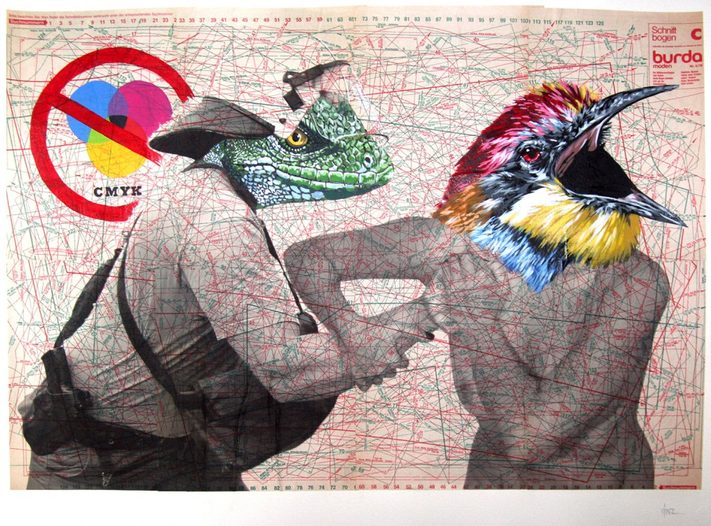 Vinz  &nbsp -  <strong>Prohibited CMYK Banned Be Yourself</strong> (2011<strong style = 'color:#635a27'></strong>)<bR /> acrylic, enamel and ink on vintage paper ephemera,   38.25 x 29.5 inches  (97 x 75 cm)
