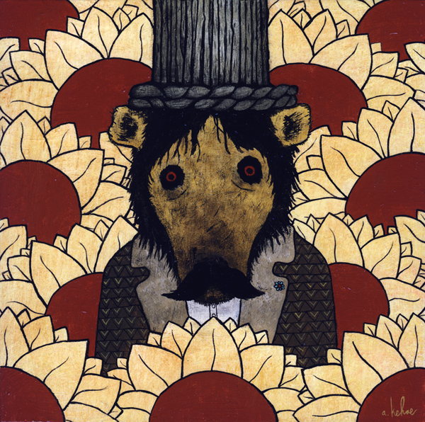 Andy  Kehoe -  <strong>Vacant Stare of the Wicked</strong> (2009<strong style = 'color:#635a27'></strong>)<bR /> acrylic and oil on panel,   8 x 8 inches