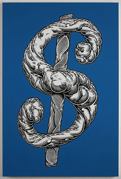 Mark Dean  Veca -  <strong>Blue Dollar Sign</strong> (2010<strong style = 'color:#635a27'></strong>)<bR /> acrylic and ink on panel,   36 x 24 in.   (91.5 x 61 cm)