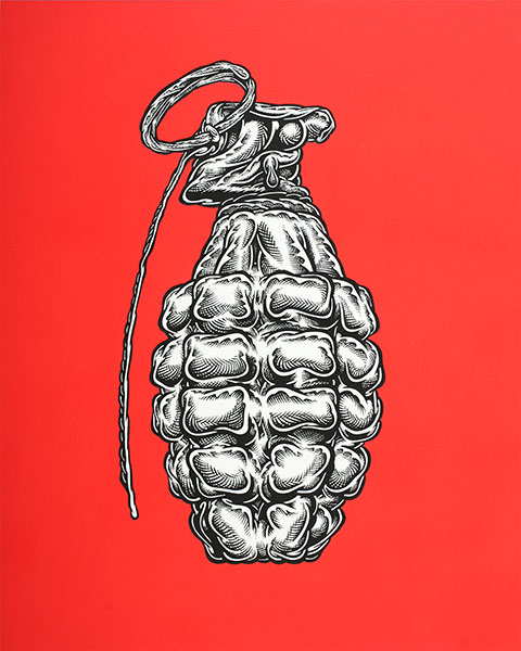 Mark Dean  Veca -  <strong>Grenade</strong> (2009<strong style = 'color:#635a27'></strong>)<bR /> ink and acrylic on panel,   20 x 16 inches [50.8 x 40.6 cm]