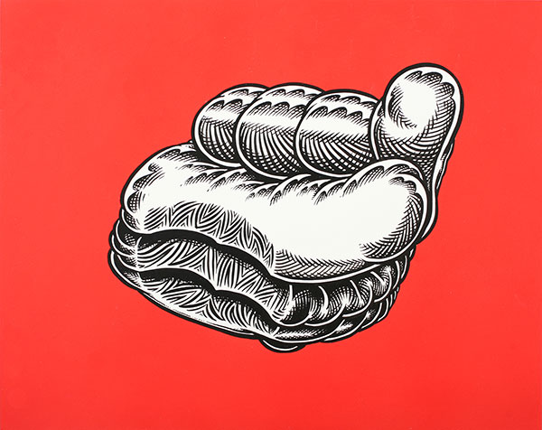 Mark Dean  Veca -  <strong>Hamburger</strong> (2009<strong style = 'color:#635a27'></strong>)<bR /> ink and acrylic on panel,   11 x 14 inches [27.9 x 35.6 cm]
