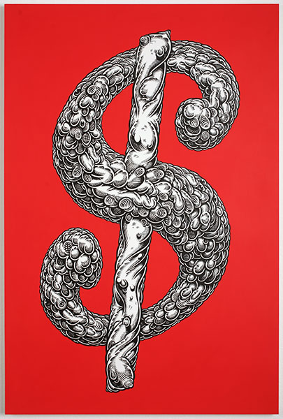Mark Dean  Veca -  <strong>Red Dollar Sign</strong> (2010<strong style = 'color:#635a27'></strong>)<bR /> acrylic and ink on panel,   36 x 24 in.   (91.5 x 61 cm)