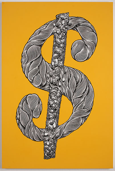 Mark Dean  Veca -  <strong>Yellow Dollar Sign</strong> (2010<strong style = 'color:#635a27'></strong>)<bR /> acrylic and ink on panel,   36 x 24 in.   (91.5 x 61 cm)