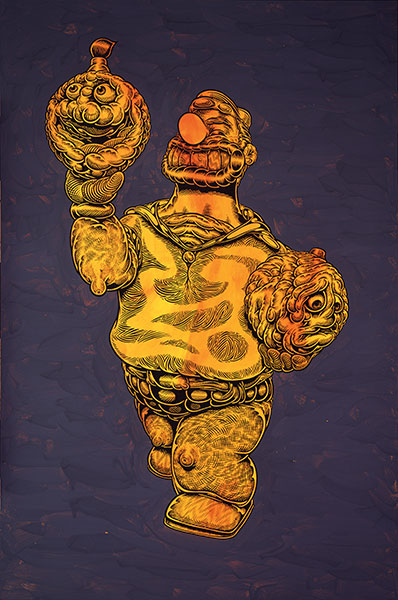 Mark Dean  Veca -  <strong>Untitled (Bluto)</strong> (2009<strong style = 'color:#635a27'></strong>)<bR /> ink and acrylic on panel,   36 x 24 inches [91.4 x 61 cm]