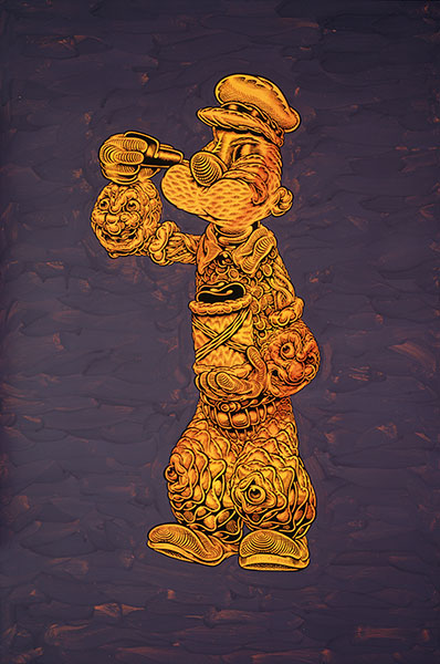 Mark Dean  Veca -  <strong>Untitled (Popeye)</strong> (2009<strong style = 'color:#635a27'></strong>)<bR /> ink and acrylic on panel,   36 x 24 inches [91.4 x 61 cm]