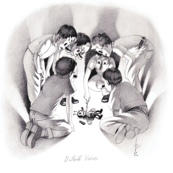 Victor  Castillo -  <strong>Distant Voices</strong> (2011<strong style = 'color:#635a27'></strong>)<bR /> graphite on paper,   9.875 x 9.875 inches (25 x 25 cm)  16.25 x 16.25 inches, framed