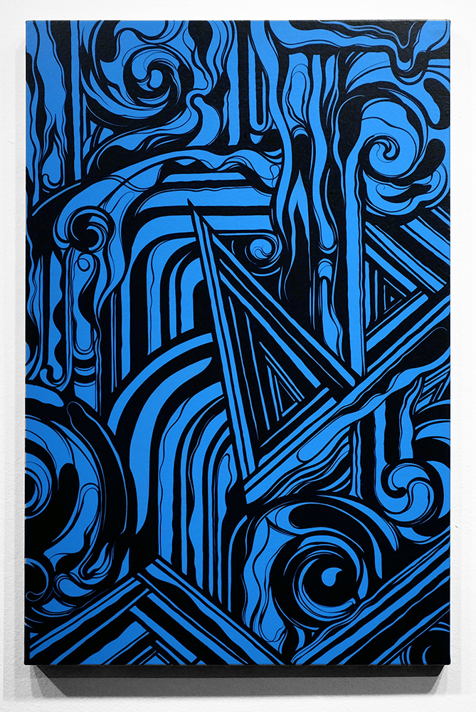 Victor  Reyes -  <strong>Black White and Blue #2</strong> (<strong style = 'color:#635a27'></strong>)<bR /> acrylic on canvas,   24 x 36 inches  (60.96 x 91.44 cm)