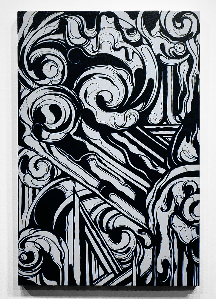 Victor  Reyes -  <strong>Black White and Blue #1</strong> (<strong style = 'color:#635a27'></strong>)<bR /> acrylic on canvas,   24 x 36 inches  (60.96 x 91.44 cm)