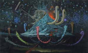 Jeff  Soto -  <strong>Volcano</strong> (2009<strong style = 'color:#635a27'></strong>)<bR /> acrylic and spray paint on panel,   6 x 10 feet
