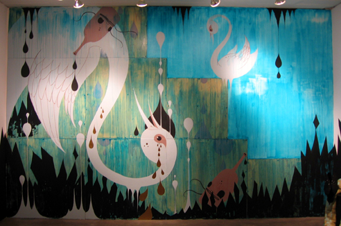 Camille Rose  Garcia -  <strong>Royal Disorder Earth Mutiny</strong> (2006<strong style = 'color:#635a27'></strong>)<bR /> Installation from acrylic and collage on wood,   12 x 15 feet
