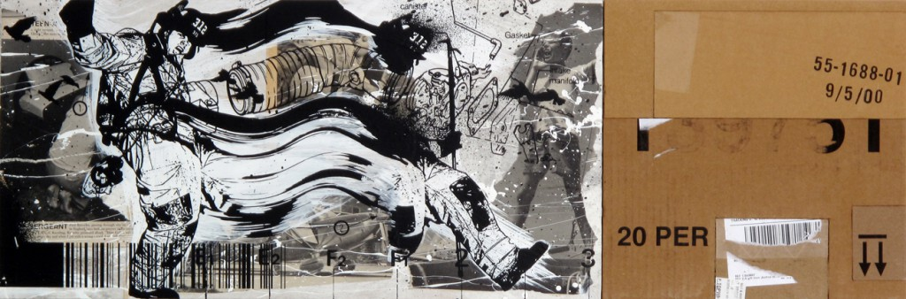 WK  &nbsp -  <strong>312 Fireman</strong> (2012<strong style = 'color:#635a27'></strong>)<bR /> mixed media on panel,   11 x 33 inches  (27.94 x 83.82 cm)