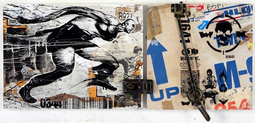 WK  &nbsp -  <strong>Behind the Door</strong> (2008<strong style = 'color:#635a27'></strong>)<bR /> collage, screen print and acrylic on wood,   18 x 24 inches  (45.72 x 60.96 cm)