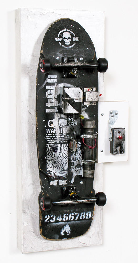 WK  &nbsp -  <strong>Blow Yourself Up - 4</strong> (<strong style = 'color:#635a27'></strong>)<bR /> mixed media on skateboard on panel,   36 x 16 x 9 inches  (91.44 x 40.64 x  22.86 cm)