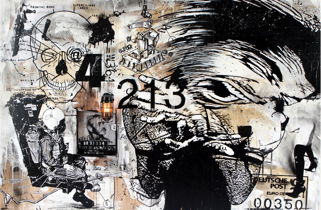 WK  &nbsp -  <strong>Frontal Bone</strong> (2008<strong style = 'color:#635a27'></strong>)<bR /> collage, screen print and painting on wood,   72 x 108 inches  (182.88 x 274.32 cm)