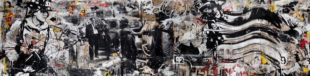 "WK  &nbsp -  <strong>In Action</strong> (2012<strong style = 'color:#635a27'></strong>)<bR /> mixed media on panel,   48 x 192 inches  (121.92 x 487.68 cm),   Click <a href=""http://gallerydriver.com/Art/WK_InAction.jpg"" target=""_blank""> <em><strong>HERE</strong></em></a> for larger view"