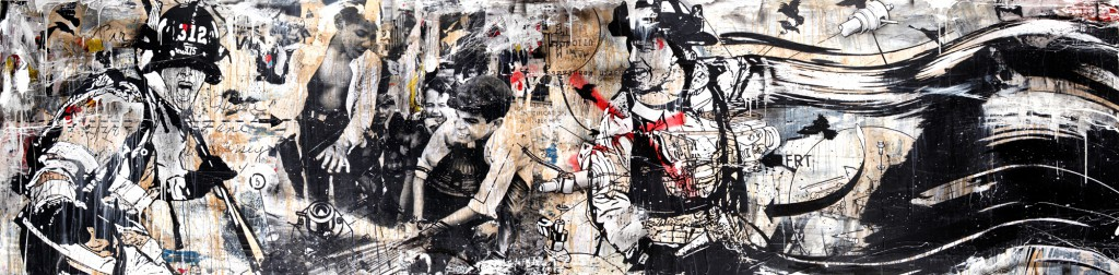 "WK  &nbsp -  <strong>Lower East Side 1968</strong> (2012<strong style = 'color:#635a27'></strong>)<bR /> mixed media on panel,   48 x 192 inches  (121.92 x 487.68 cm),   Click <a href=""http://gallerydriver.com/Art/WK_LowerEastSide19681.jpg"" target=""_blank""> <em><strong>HERE</strong></em></a> for larger view"