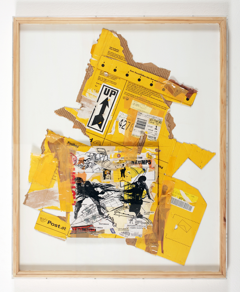 WK  &nbsp -  <strong>Recycled Cardboard Series A1</strong> (2006<strong style = 'color:#635a27'></strong>)<bR /> mixed media on cardboard,   39.375 x 32.25 x 1.75, framed  (100 x 81.91 x 4.44 cm)