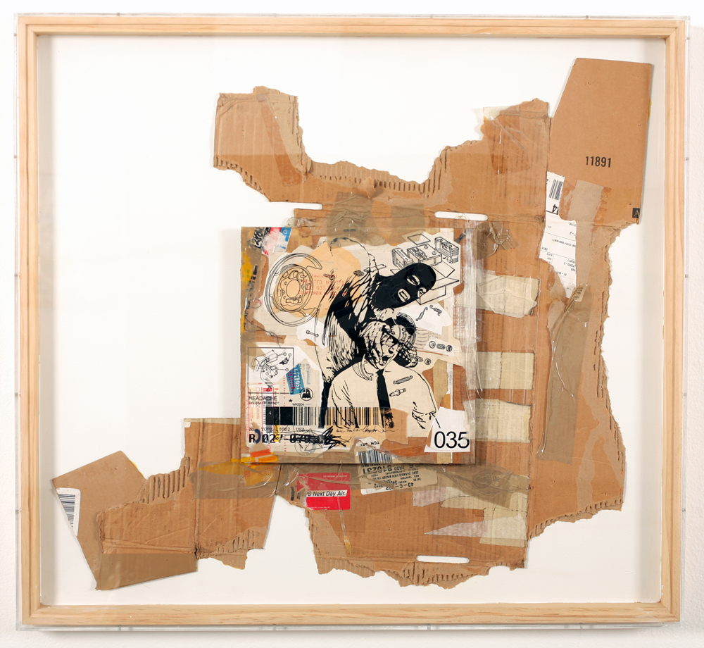 WK  &nbsp -  <strong>Recycled Cardboard Series A3</strong> (2006<strong style = 'color:#635a27'></strong>)<bR /> mixed media on cardboard,   31.375 x 34.25 x 1.75 inches  (79.69 x 86.99 x 4.44 cm)