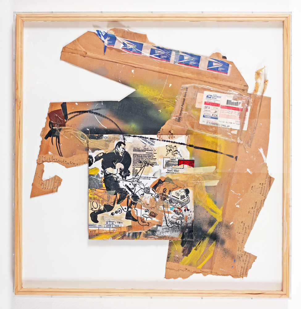 WK  &nbsp -  <strong>Recycled Cardboard Series A4</strong> (2006<strong style = 'color:#635a27'></strong>)<bR /> mixed media on cardboard,   37.375 x 36.375 x 1.75 inches  (94.93 x 92.39 x 4.44 cm)
