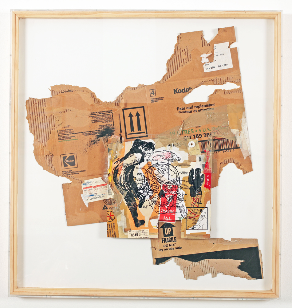 WK  &nbsp -  <strong>Recycled Cardboard Series A6</strong> (2006<strong style = 'color:#635a27'></strong>)<bR /> mixed media on cardboard,   38.375 x 36.25 x 1.75 inches  (97.47 x 92 x 4.44 cm)