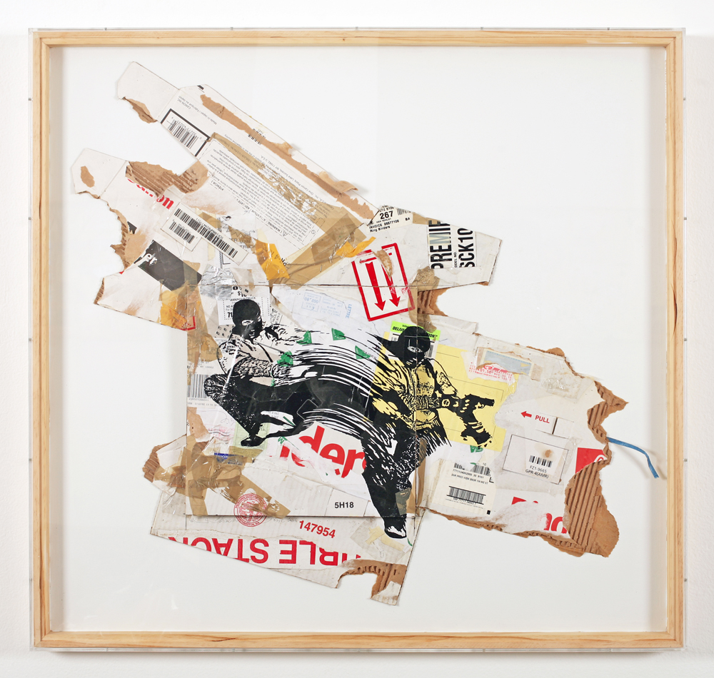 WK  &nbsp -  <strong>Recycled Cardboard Series A7</strong> (2006<strong style = 'color:#635a27'></strong>)<bR /> mixed media on cardboard,   37.25 x 39.25 x 1.75, framed  (94.61 x 99.69 x 4.44 cm)