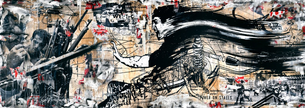 "WK  &nbsp -  <strong>Riot</strong> (<strong style = 'color:#635a27'></strong>)<bR /> mixed media,   72 x 198 inches  (182.88 x 502.92 cm),   Click <a href=""http://gallerydriver.com/Art/WK_Riot1.jpg"" target=""_blank""><em><strong>HERE</strong></em></a> for larger view"
