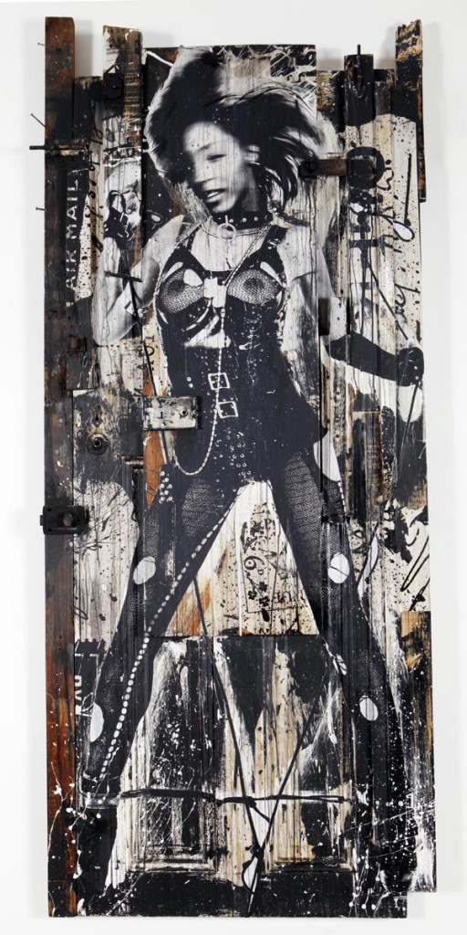 WK  &nbsp -  <strong>Sexy Door 4</strong> (<strong style = 'color:#635a27'></strong>)<bR /> mixed media on wood,   83 x 37 x 6 inches  (210.82 x 93.98 x 15.24 cm)