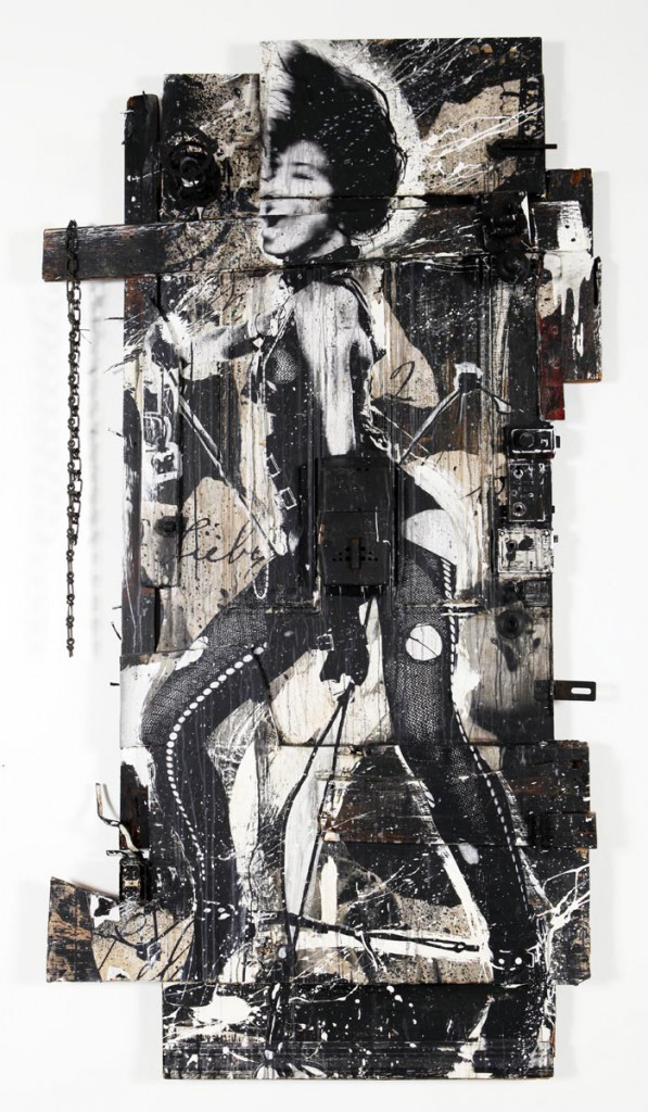 WK  &nbsp -  <strong>Sexy Door 5</strong> (<strong style = 'color:#635a27'></strong>)<bR /> mixed media on wood,   79 x 43 x 9 inches  (200.66 x 109.22 x 22.86 cm)
