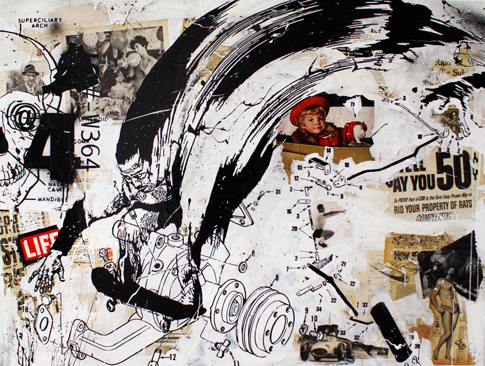 WK  &nbsp -  <strong>The Life</strong> (2008<strong style = 'color:#635a27'></strong>)<bR /> mixed media on panel,   39.125 x 48 inches  (99.37 x 121.92 cm)