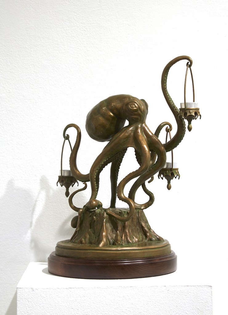 Scott  Musgrove -  <strong>Walktopus</strong> (2014<strong style = 'color:#635a27'></strong>)<bR /> bronze,   20 x 15 x 12 inches  (50.8 x 38.1 x 30.48 cm
