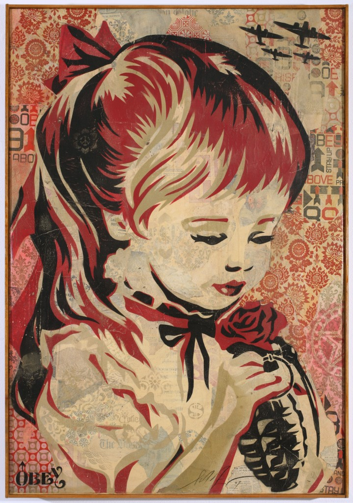 Shepard Fairey -  <strong>War by Numbers</strong> (2007<strong style = 'color:#635a27'></strong>)<bR /> stencil collage on canvas 30 x 43 inches
