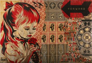 Shepard Fairey -  <strong>War By Numbers (Installation)</strong> (2007<strong style = 'color:#635a27'></strong>)<bR /> mixed media on panel 11 x 16 feet