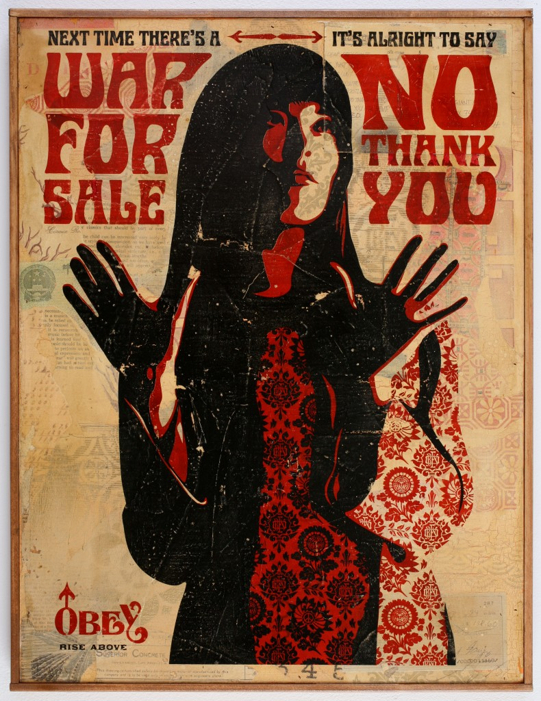 Shepard Fairey -  <strong>War For Sale</strong> (2007<strong style = 'color:#635a27'></strong>)<bR /> hand painted multiple on paper