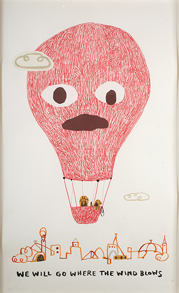 Souther  Salazar -  <strong>We Will Go Where the Wind Blows</strong> (2009<strong style = 'color:#635a27'></strong>)<bR /> crayon, collage and ink on paper,   image size: 50 x 30 inches,   framed size: 53 5/8 x 33 5/8 inches
