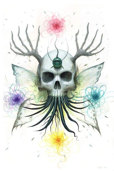 Jeff  Soto -  <strong>Winter - Death</strong> (2010<strong style = 'color:#635a27'></strong>)<bR /> acrylic on paper  22.5 x 15 inches (57.15 x 38.1 cm)   25.25 x 17.75 inches, framed