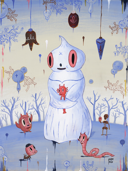 Gary  Baseman -  <strong>Winter Magi</strong> (2005<strong style = 'color:#635a27'></strong>)<bR /> Acrylic on Wood Panel,   18 x 24 inches