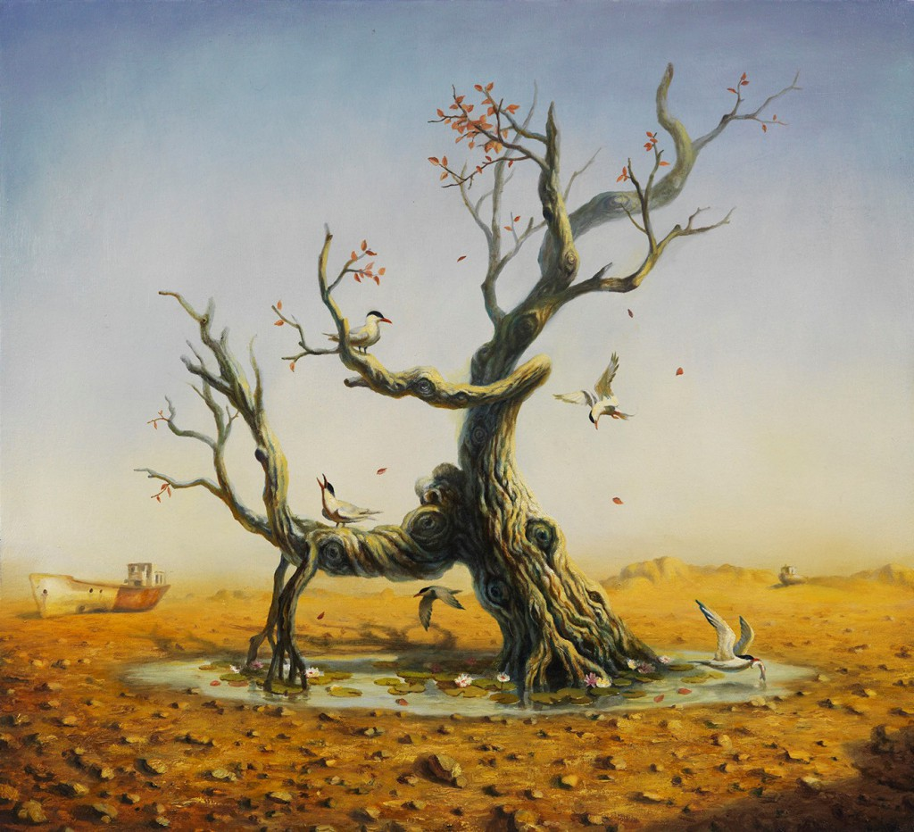 Martin Wittfooth -  <strong>Witness</strong> (2015<strong style = 'color:#635a27'></strong>)<bR /> oil on canvas,   35 x 38 inches  (88.9 x 96.52 cm)